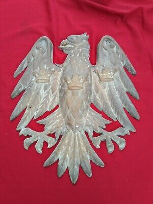 Large Antique Vintage Bronze Eagle or Griffin with 3 Crowns Wall Plaque