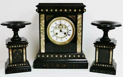 Antique French Slate Marble Gong Striking 8 Day Architectural Mantel Clock Set