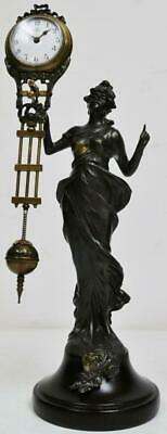 Vintage Mystery Swinging Pendulum Cast Lady Figurine Mantel Clock Working Order