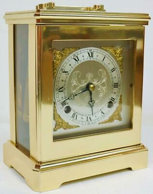 Vintage Elliott Ormolu & Glass Mantel Clock, 8 Day Striking Large Carriage Clock