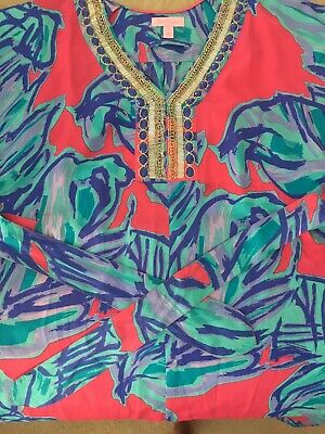 625200c09f8aca Lilly Pulitzer Wilda Caftan Chic Pink Sway Floral Beaded Belted Kimono Dress  XS