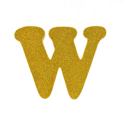 "EVA Glitter Foam Letter Cut Out ""W"", Gold, 4-1/2-Inch, 12-Count"