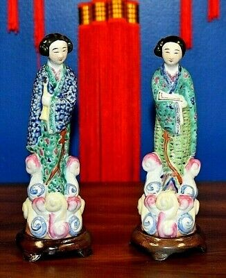 "Pair Of Antique 8.5"" Chinese Porcelain Statues-Oriental-Asian-Lady's-Figurine"