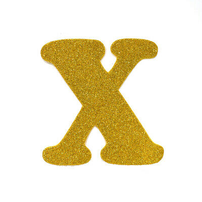"EVA Glitter Foam Letter Cut Out ""X"", Gold, 4-1/2-Inch, 12-Count"