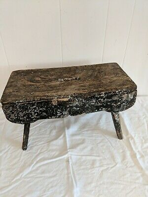 "ANTIQUE WOODEN MILKING STOOL LOTS OF PATINA 16"" Long by 8"" Wide by 9"" Tall"