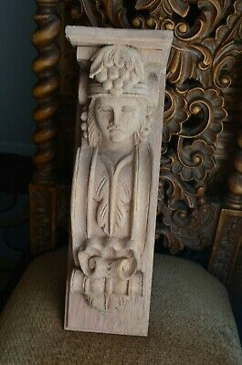 "Wooden Corbel/bracket Angel. Wall Fireplace decor. Carved from wood. 16.5"" size"