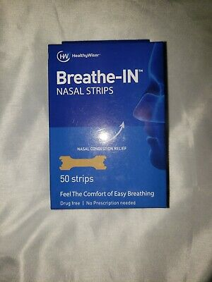 HealthyWiser Breathe In Right Nasal Strips Sleep Nose Congestion Aid 50 Pack