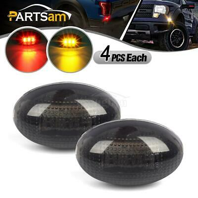 8pc LED Fender Bed Side Marker Lights Smoked (Amber Red) For Ford F350 F-Series