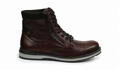 28e4711010f7e FUTOLI MEN'S 100% Genuine Leather One Side Zip Lace Up Ankle Boots ...