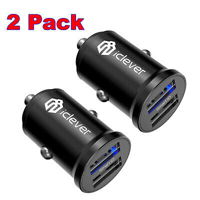 2Pack Dual USB  Car Charger Adapter QC 3.0 Fast Charging for iPhone Samsung HTC