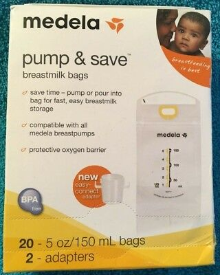 Medela Pump and Save Breast Milk Bags 20-5oz Bags and 2 Adapters  New