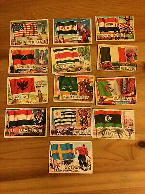 1960s Scanlens/A&BC Gum FLAGS OF THE WORLD LOT OF 13 CARDS