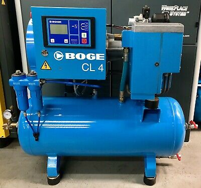 Boge CL4-90 Receiver Mounted Rotary Screw Compressor, 3.0Kw, 12Cfm, Immaculate!