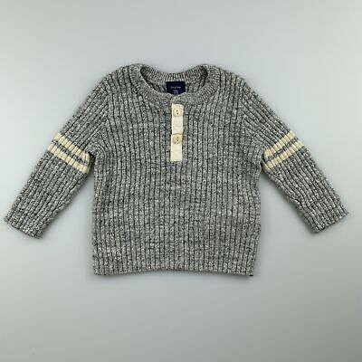 Boys size 00, Baby Gap, grey ribbed knitted sweater / jumper, EUC
