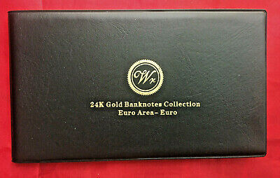 8 EURO BANK NOTES  24k GOLD BANKNOTE ALBUMS LIMITED SET GIFT IN ALBUM