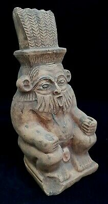 ANCIENT EGYPTIAN ANTIQUES STATUE Of GOD BES Egypt Hanc Carved STONE 664-525 BC
