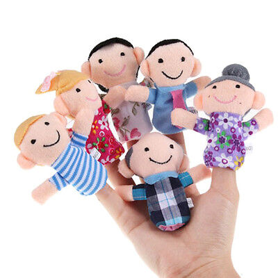 6pcs Family Finger Puppets Cloth Doll Baby Educational Hand Cartoon Animal Toy