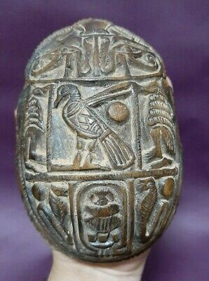 ANCIENT EGYPTIAN ANTIQUES Scarab Beetle Khepri Figure Sculpture Egypt Stone BC