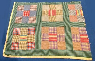 "Colorful Vintage Cutter Quilt Piece With Old Cotton Batting - 34 "" x 26 """