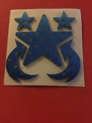 Vtg June Kessler Star Arrow Satin Blue Stickers  80s