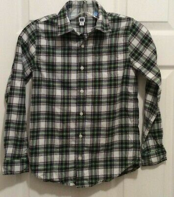 Janie & Jack Boy Shirt 10 White Green Blue Yellow Plaid Button Front Long Sleeve