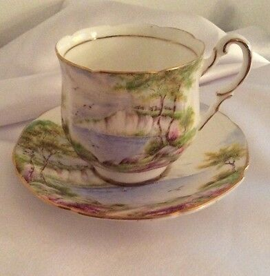 """PARAGON Fine English Bone China.""""Cliffs Of Dover"""" Tea Cup & Footed Saucer."""