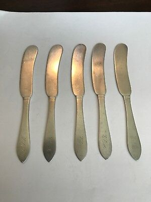 Dominick & Haff (5) Five  Sterling Silver Butter Spreader. Pointed Antique Pat.