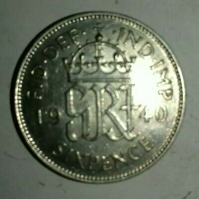 1940 LUCKY GEORGE VI SILVER SIXPENCE V.FINE SCAREFACE (aXF)