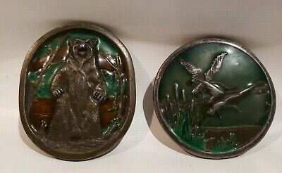 Lot of 2 Vintage Brass INDIANA METAL CRAFT GRIZZLY BEAR & MALLARDS BELT BUCKLES