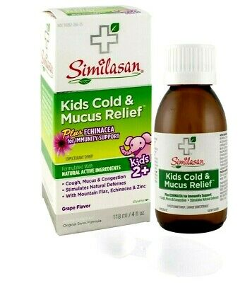 Similasan Kids Homeopathic Cold & Mucus Relief Grape Syrup Plus Echinacea 4 oz