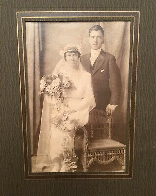 Stunning Original Antique Early 1900s Wedding Photograph Newlyweds Store Display