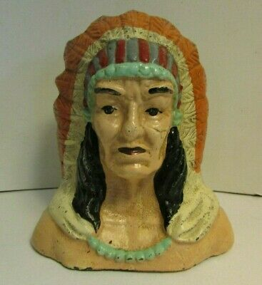 Vintage INDIAN CHIEF Head, Cast Iron Coin Bank