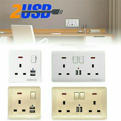 Double/Single Wall Plug Socket 2 Gang 13A with 2 USB Ports Slim Flat Plate