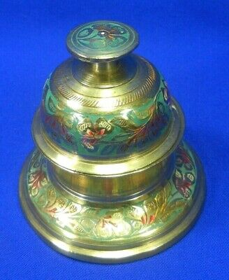 Vintage Brass Elephant Claw Temple Bell Enamel Floral With Base