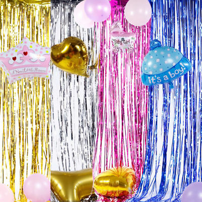 Metallic Shiny Tinsel Curtain Foil Backdrop Birthday Hens Party Xmas Decoration