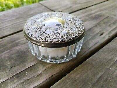 Glass and Silver Plated Powder Box/Antique