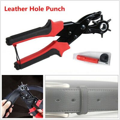 Leather Hole Maker Punch Plier Belt Puncher Tool Heavy Duty Revolving Rotary Kit