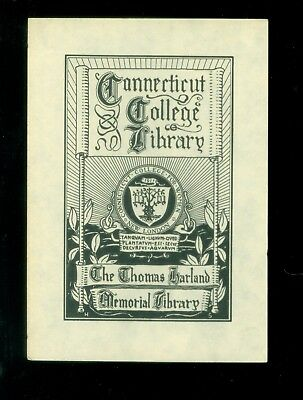 Vintage Litho Book Plate Connecticut College Thomas Harland Memorial Library