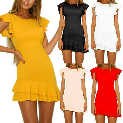 Fashion Women Casual Sexy Solid Foldings Backless Sleeveless V-Neck Mini Dress