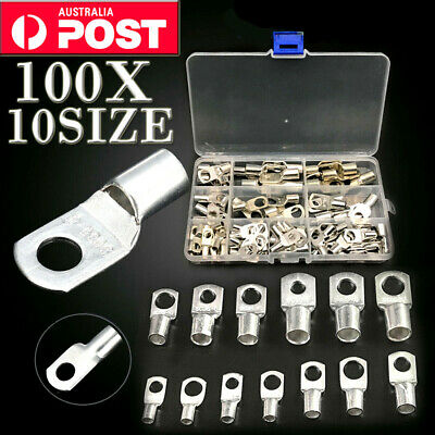 100PCS 10Size Copper Cable Wire Lug Battery Terminal Crimper Connector Kits New