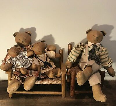 Set of 4 Dressed BEAR FAMILY Handmade Artist OOAK + Bench & Chair, Vintage 1990s