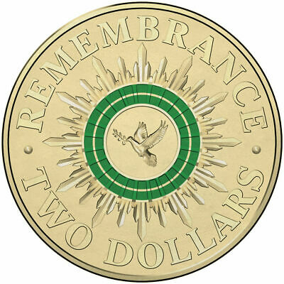 2014 Remembrance Day $2 Green Dove Coin - Uncirculated.
