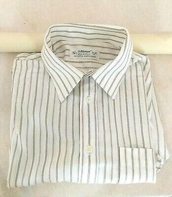 Vintage St Michael's MEN WHITE STRIPPY FORMAL SUIT SHIRT Size: L Collar 15.5""
