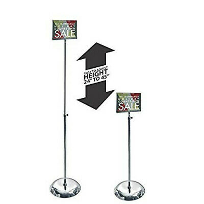 """Clear Acrylic Pedestal Sign Holder Stand w/ Adjustable Metal Pole 7""""W x 5.5""""H"""