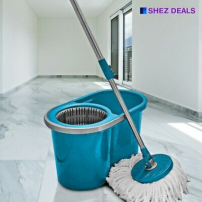 360° Floor Cleaner Home Cleaning Spinning Rotating Mop Bucket Plastic Quick Dry