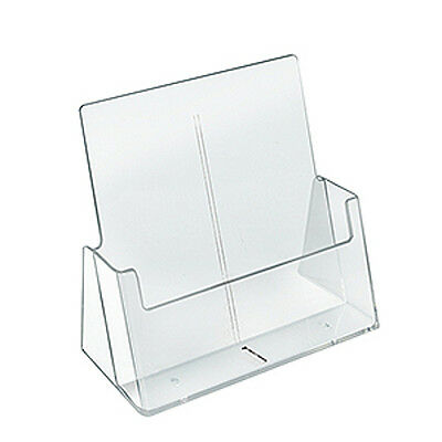 Plastic Clear Letter Size Brochure Holder 9.17W x 4.25D x 9.8H Inches- Box of 2