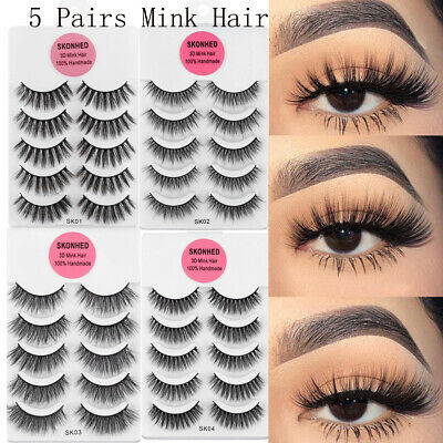 💙3D Mink False Eyelashes Wispy Cross Long Thick Soft Fake Eye Lashes 5 Pairs💙