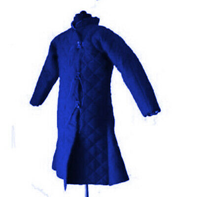 Thick Blue Beautiful Gambeson Medieval Padded Full Sleeves Reenactment Larp