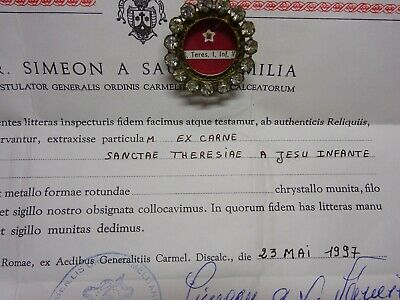 ✝ Reliquary Relic St. Therese of Lisieux the Little Flower & COA Document