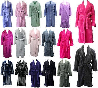 Mens Womens Soft Waterfall Button Up Bathrobe Coral Fleece Dressing Gown Quilted